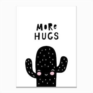 Scandi More Hugs Cactus Canvas Print