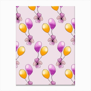 Purple And Yellow Balloons Canvas Print
