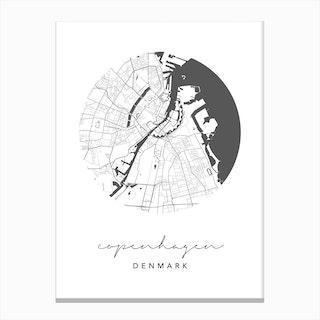 Copenhagen Denmark Circle Map Canvas Print