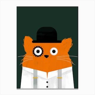 Cat Clockwork Canvas Print