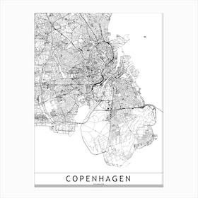 Copenhagen White Map Canvas Print