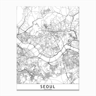 Seoul White Map Canvas Print