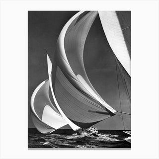 Spinakers On Racing Sailboats Canvas Print