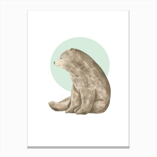 Watercolour Bear with Green Canvas Print