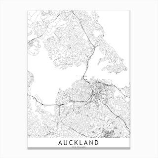 Auckland White Map Canvas Print