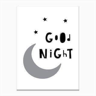 Scandi Good Night Moon Canvas Print