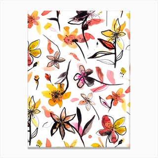 Ink Flowers Yellow Canvas Print