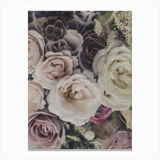 Roses And Dry Flowers Bouquet Canvas Print