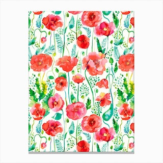 Poppies Red Canvas Print