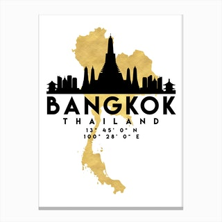 Bangkok Thailand Silhouette City Skyline Map Canvas Print