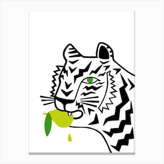 Big Cat Eating A Pear Canvas Print