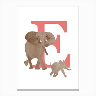 E For Elephant Canvas Print