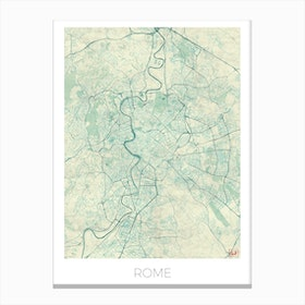 Rome Map Vintage in Blue Canvas Print