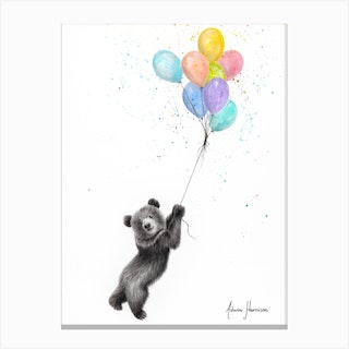 The Bear And The Balloons Canvas Print