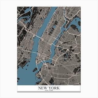 New York New York Black Blue Canvas Print