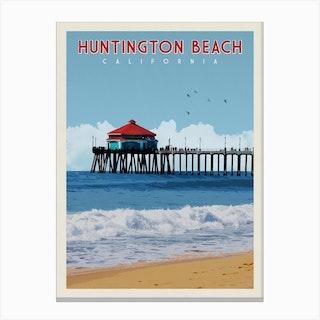 Huntington Beach California Travel Poster Canvas Print