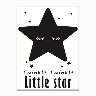 Twinkle Little Star Black Canvas Print