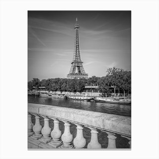 Paris Eiffel Tower & River Seine Canvas Print