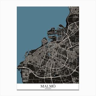 Malmo Black Blue Canvas Print