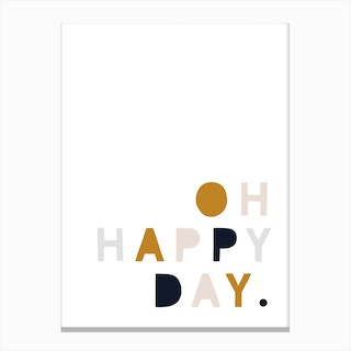 Oh Happy Day  Mustard Navy Pink Canvas Print