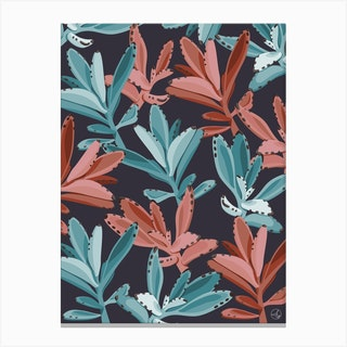 Dusty Pink And Turquoise Succulent Leaves Canvas Print