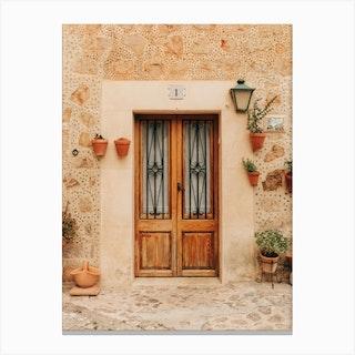 Door Number 1 In Valldemossa On Mallorca Island In Spain Canvas Print