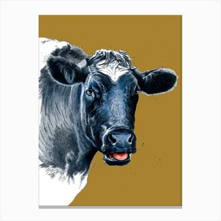 The Cow On Burnt Gold Canvas Print