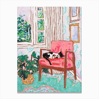 Mid Century Chair With Napping Tuxedo Cat Painting Canvas Print