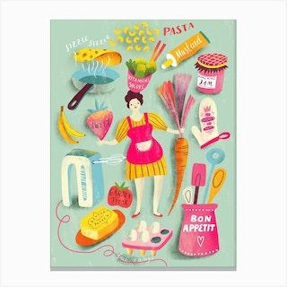 Bon Appetit Mint Canvas Print