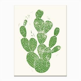 Linocut Cactus in Canvas Print