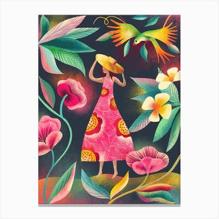 Tropical Lady Canvas Print