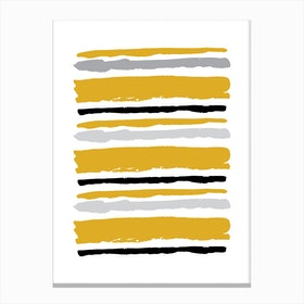 Mustard and Black Abstract Stripes Canvas Print