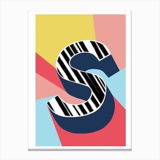 S Geometric Font Canvas Print