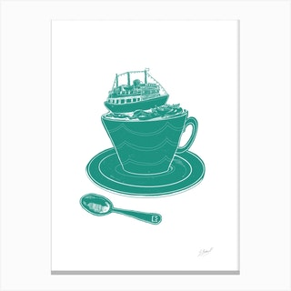 Britannia Boat Teacup Canvas Print