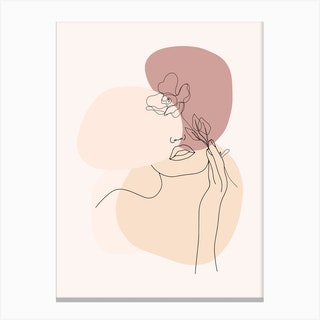 Minimal Line Art Beautiful Woman With Flower Canvas Print
