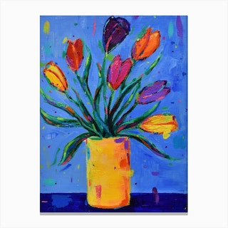 Tulips In A Yellow Vase Canvas Print