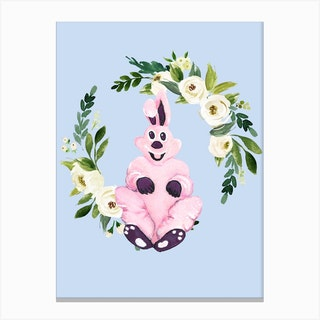 Pink Bunny And Flower Wreath Canvas Print