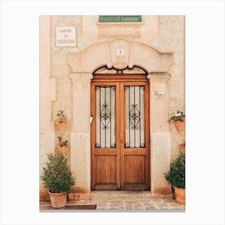 Beautiful Door In Valldemossa On Mallorca Island In Spain Canvas Print