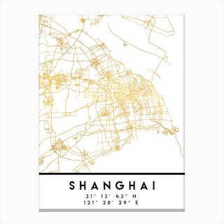 Shanghai China City Street Map Canvas Print