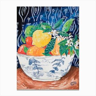 Bowl Of Citrus Fruit On Matisse Canvas Print