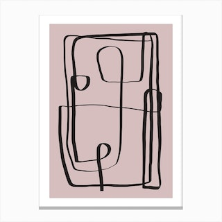Pink Line Abstract Canvas Print