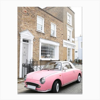Pink Car London Canvas Print