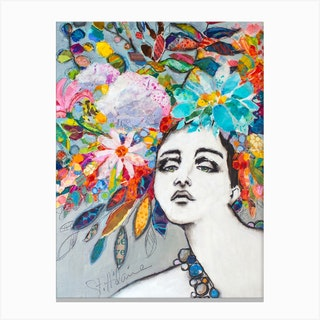 Fashion Plate Floral Female Sketch In Colors Canvas Print
