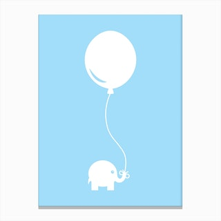 Elephant with Balloon (Blue) Canvas Print