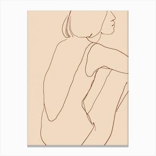 Female Silhouette On Beige Canvas Print