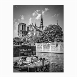 Cathedral Notre Dame & Seine Riverside Canvas Print
