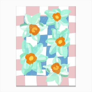 Daffodils Blue Pink Check Canvas Print