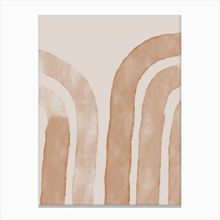 Abstract Lines On Beige Canvas Print