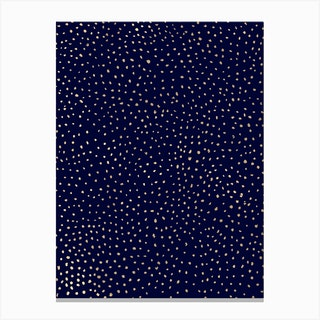 Dotted Gold And Navy Canvas Print