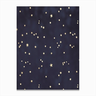 Royal Blue with Gold Stars Canvas Print